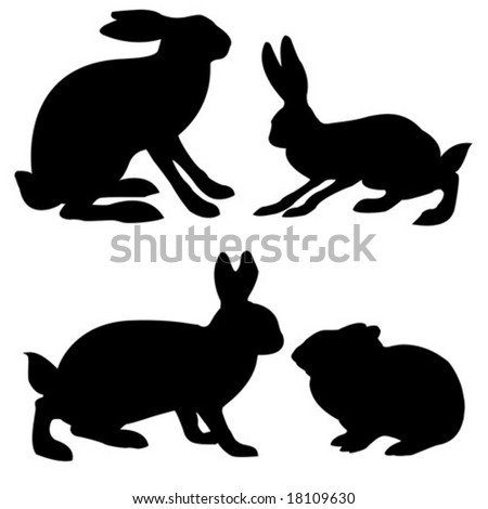 stock vector : vector silhouettes hare and rabbit on white background