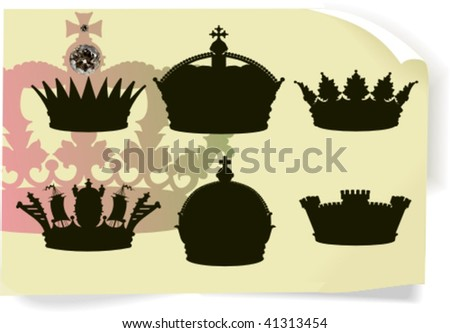 Vector silhouettes, heraldic 6, vector illustration