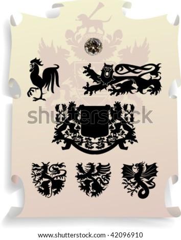 Vector silhouettes, heraldic 13, vector illustration - stock vector