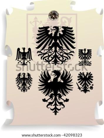 Vector silhouettes, heraldic 14, vector illustration