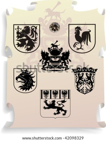 Vector silhouettes, heraldic 16, vector illustration