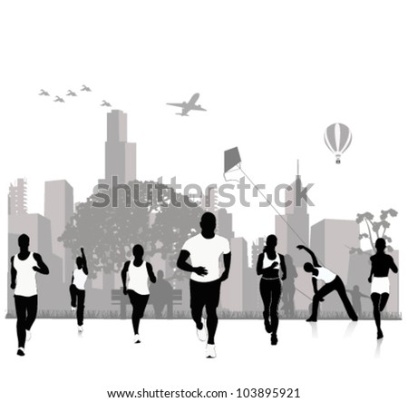 Vector silhouettes.Jogging in the city
