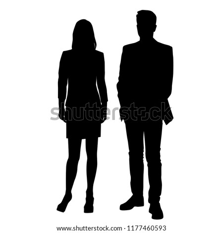 Vector silhouettes man and woman, couple,  business people, group people , standing,  black color, isolated on white background #1177460593