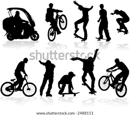 Vector silhouettes man on roller, bicycle, scooter, skateboard ...