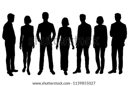 Vector silhouettes men and women standing, business,  people, group,  different poses, black color, isolated on white background