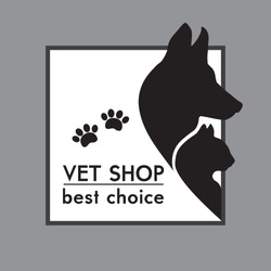 vector silhouettes of a cat and dog on the poster for veterinary shop or clinic
