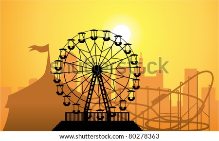 vector silhouettes of a city and amusement park with circus, ferris wheel and roller-coaster