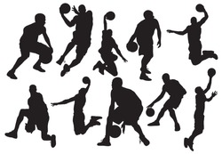 Vector silhouettes of basketball