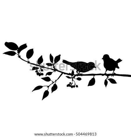 vector silhouettes of birds at