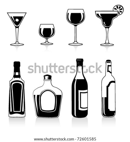 Vector silhouettes of bottles and glasses