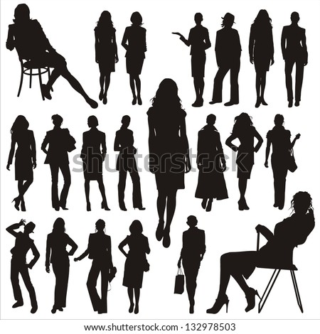 Vector silhouettes of business lady