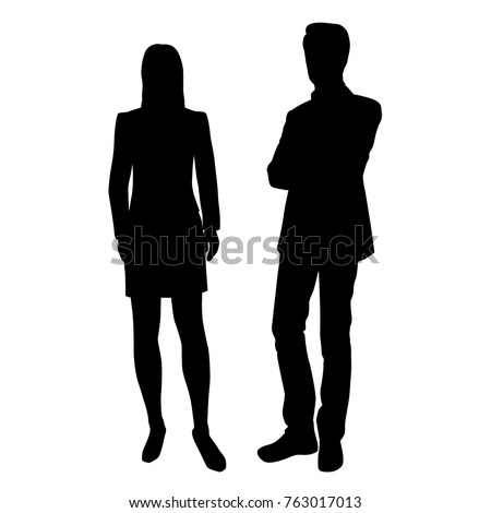 Vector silhouettes of businessman  and businesswoman standing, couple,  group, people,  black color, isolated on white background