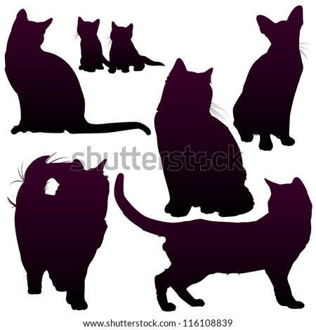 Vector silhouettes of cats for your design