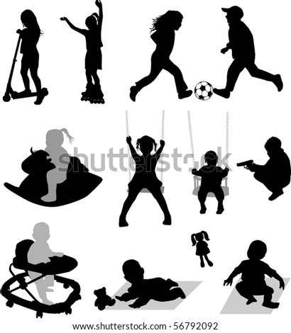 Vector silhouettes of children at play