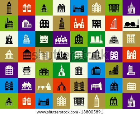 Vector silhouettes of city buildings in the form of buttons