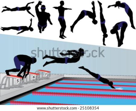 Vector silhouettes of competitive swimmers and divers. Stock photo ©