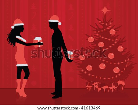 Vector silhouettes of couple giving each other presents. Pine tree on the background.