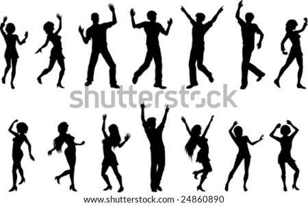 Vector silhouettes of dancing figures.