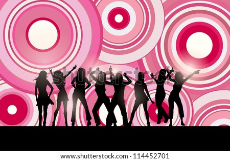 Vector silhouettes of dancing women against pink background circles.