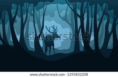 vector silhouettes of deer and