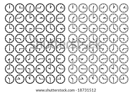 Vector silhouettes of dials with different time
