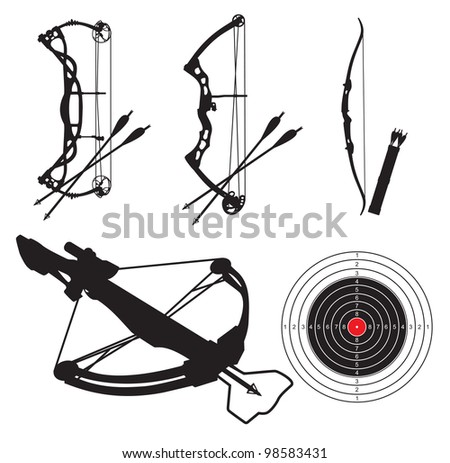 vector silhouettes of equipment for shooting from bow and arbalest