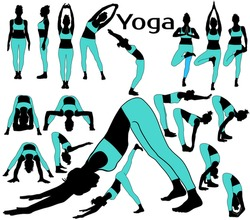Vector silhouettes of girl in blue sportive costume stretching her body in different yoga poses.