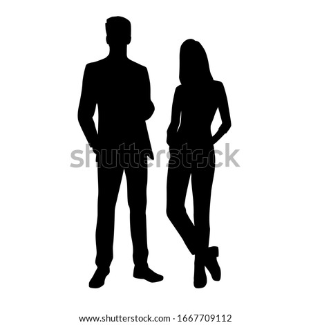 Vector silhouettes of  man and a woman, a couple of standing business people, black color isolated on white background