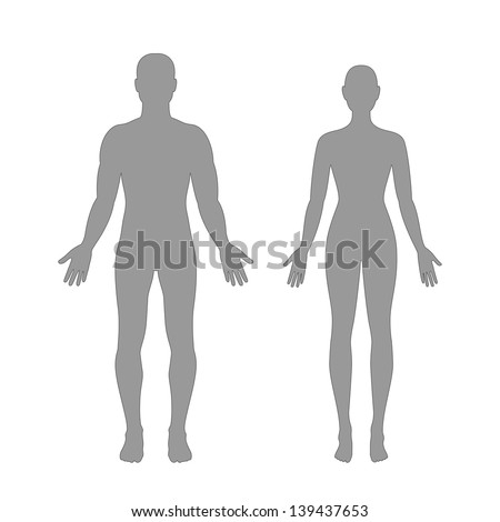 Vector silhouettes of man and woman in grey color