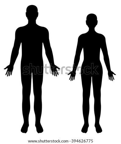 Vector silhouettes of man and woman isolated on white background