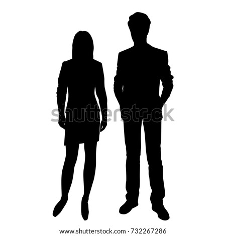 Vector silhouettes of man and woman standing, business people, couple, black color, isolated on white background #732267286