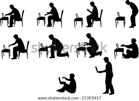 vector silhouettes of man with laptop - stock vector