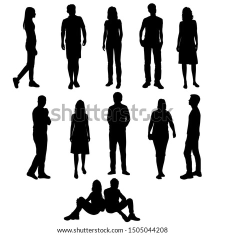 Vector silhouettes of  men and a women, a group of standing and sitting  business people, black color isolated on white background