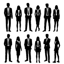 Vector silhouettes of  men and a women, a group of standing  business people, black and white color isolated on white background