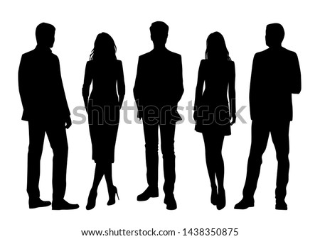 Vector silhouettes of  men and a women, a group of standing business people, black color isolated on white background