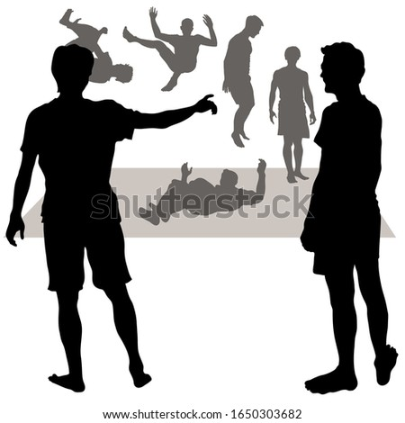 vector 7 silhouettes of men