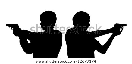 vector silhouettes of men with pistols