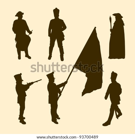 Vector silhouettes of napoleon soldiers