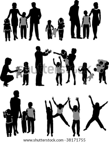 Vector silhouettes of parents with children.  All elements and textures are individual objects. Vector illustration scale to any size.