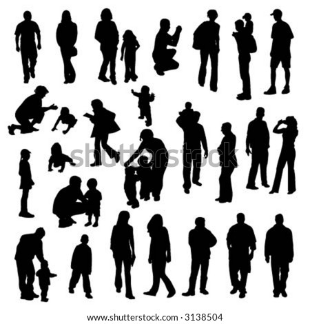 stock vector : vector silhouettes of people