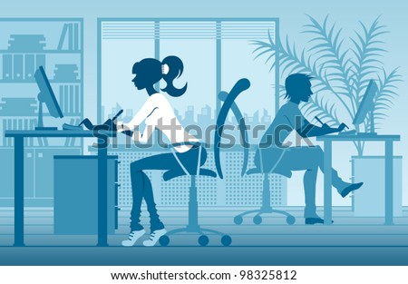 vector silhouettes of people in office