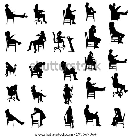 199670744 Shutterstock Vector Silhouettes Of People Sitting In on industrial work desk