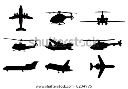 vector silhouettes of planes and helicopters