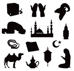 Vector silhouettes of symbols of an Islamic community mosques, praying people, Kaaba and Koran, rosary, ram's head and camel isolated on white background.