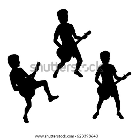 vector silhouettes of teenagers