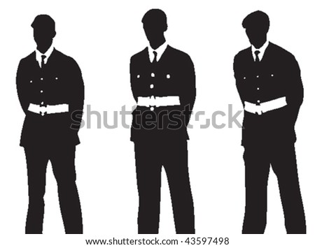 Vector silhouettes of three military persons, standing with their hands behind their backs, at a ceremony or parade.