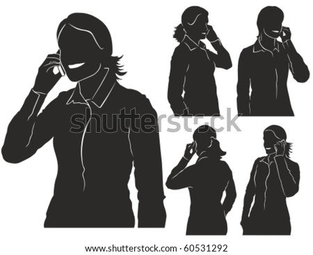 Vector silhouettes of woman talking on her mobile phone.