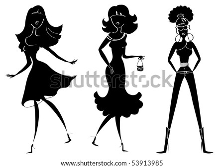 silhouettes of women. silhouettes of women in
