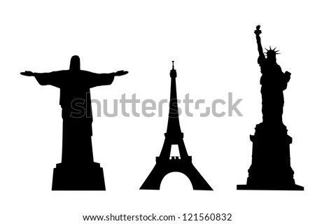 vector silhouettes of world monuments isolated over white background