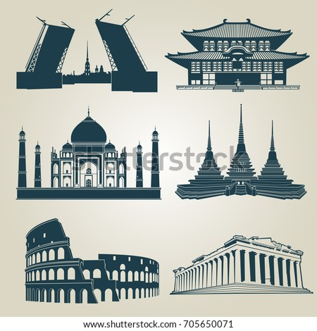 vector silhouettes of world...